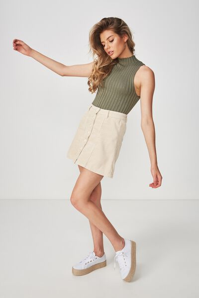 Becca High Neck Crop Top, GUM LEAF KHAKI