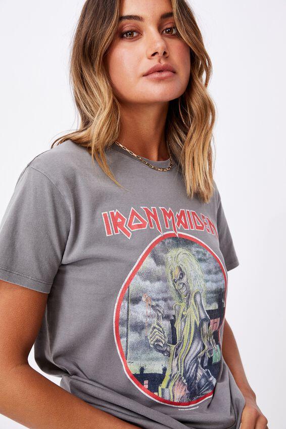 Iron Maiden Tee, VNTG WASH CEMENT GREY/LCN IM IRON MAIDEN SKEL