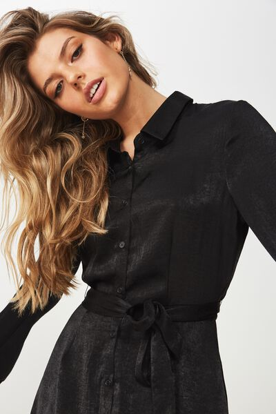 Paris Satin Shirt Dress, BLACK
