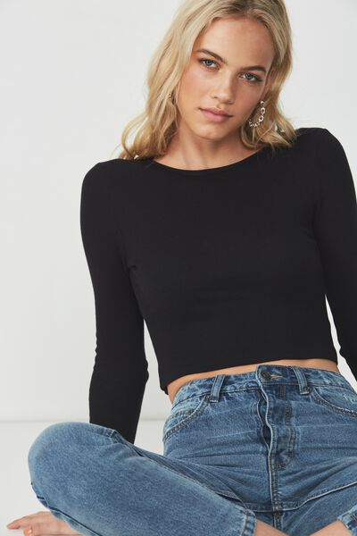 21dae9bf684e2 Long Sleeve Rib Crew Neck Crop Top
