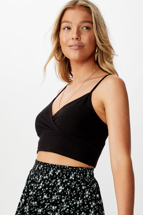 Lena Wrap Cami Crop, BLACK