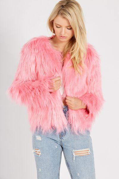 Faux Fur Chubi Jacket, HOT PINK