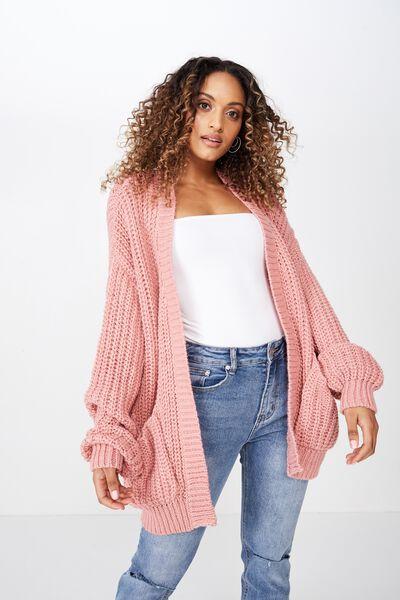 Grace Oversized Cardigan, ROSE PINK