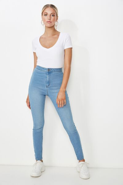 Super Skinny Sky High Denim Jean, WAVE BLUE