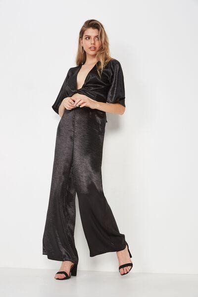 Dressy Satin Wide Leg Pant, BLACK
