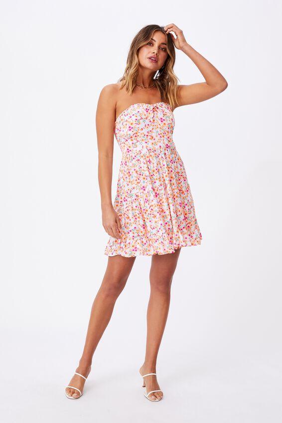 Savannah Tiered Bustier Dress, AVA FLORAL PEACH