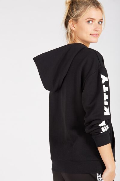 Hello Kitty Oversized Hoodie, BLACK/HELLO KITTY