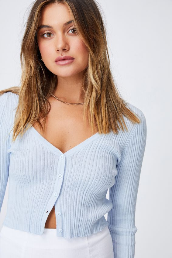 Olivia Button Through Long Sleeve Top, ARTIC BLUE