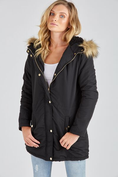 The Parka Jacket, BLACK