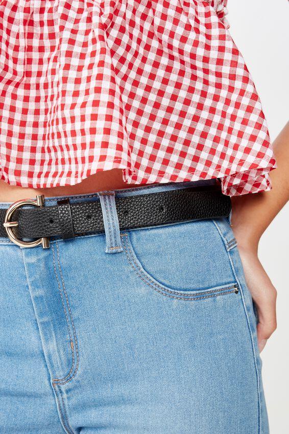 Lola Skinny Belt, BLACK/GOLD