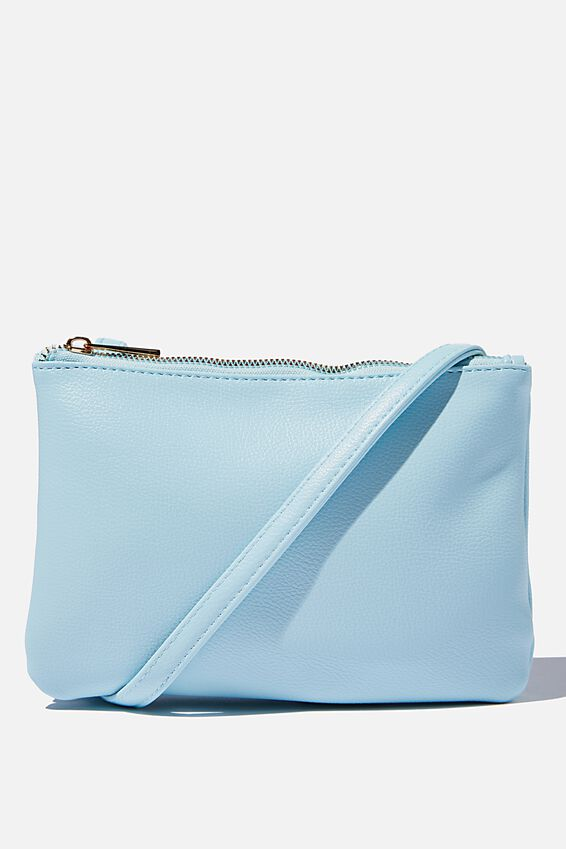 Eliza Double Zip Bag, ICE BLUE PEBBLE