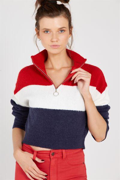 Hailey Cozy Zip Knit Top, RED/STRIPE