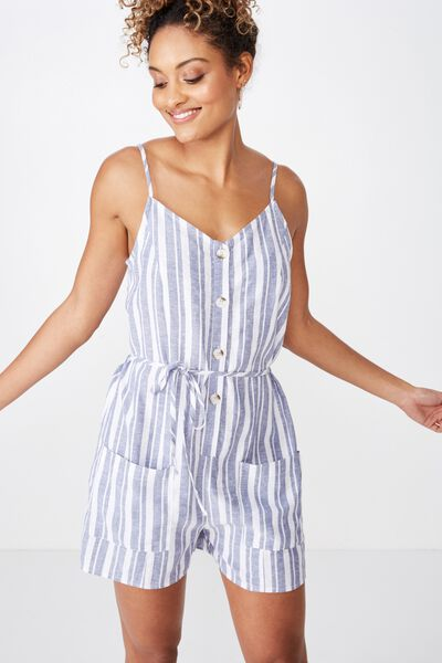 c311c5844063 Charlie Button Front Linen Playsuit, TERRY STRIPE STORM BLUE