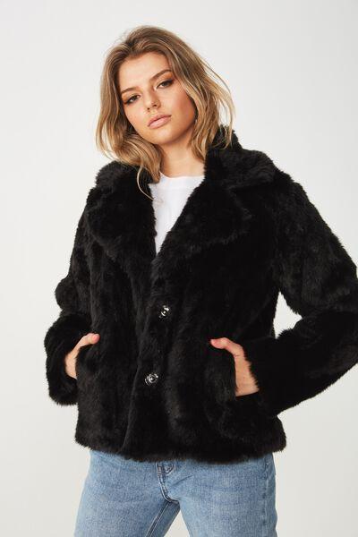 Aria Faux Fur Coat, BLACK