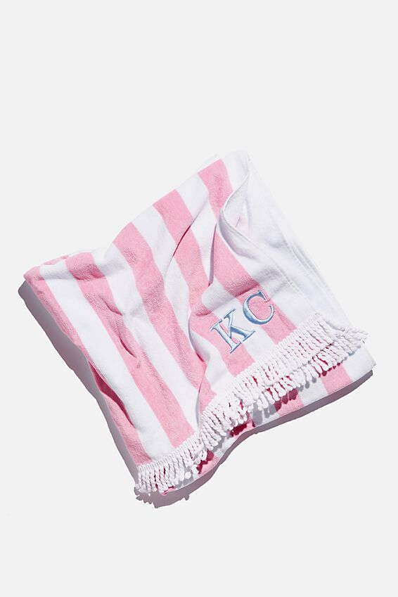 Personalised Beach Towels, PINK WHITE STRIPE