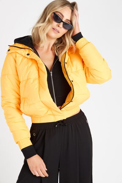 Oversized Puffer Jacket, YELLOW