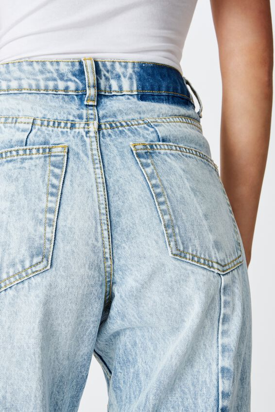 The Mom Denim Jean, BLUE MARBLE CURVE SEAM