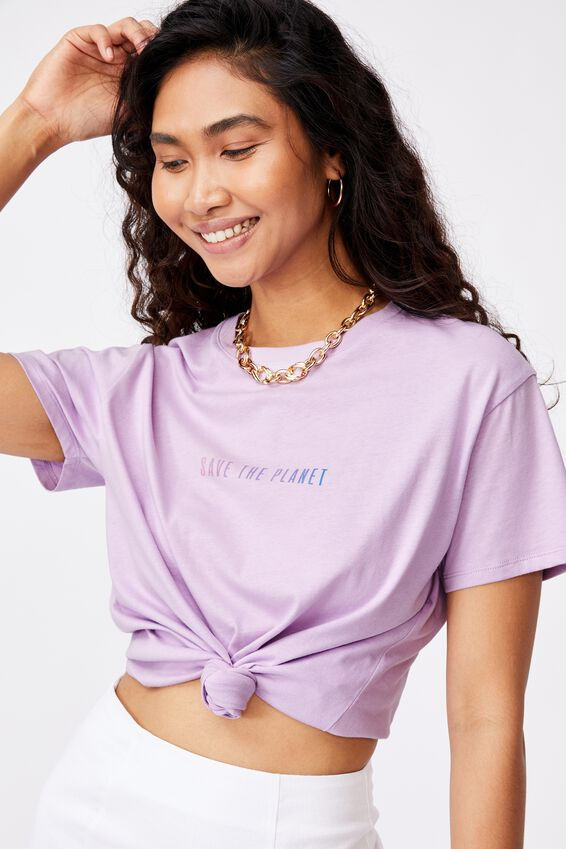 Save the Planet Tee, ORCHID BLOOM/SAVE THE PLANET