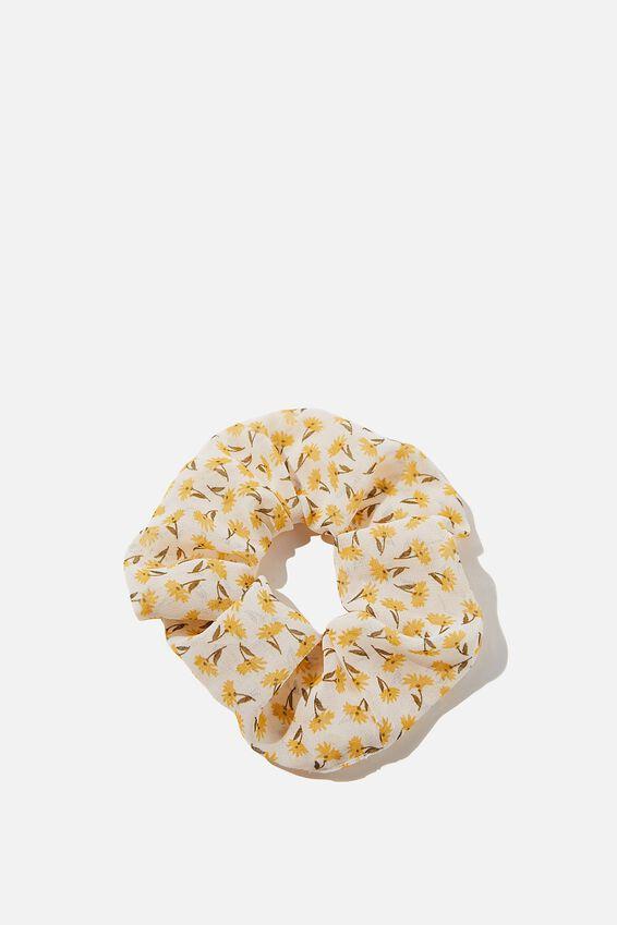 Daisy Organza Scrunchie, WHITE YELLOW
