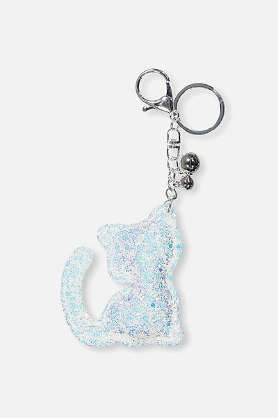 Puffy Glitter Keyring, CAT/WHITE