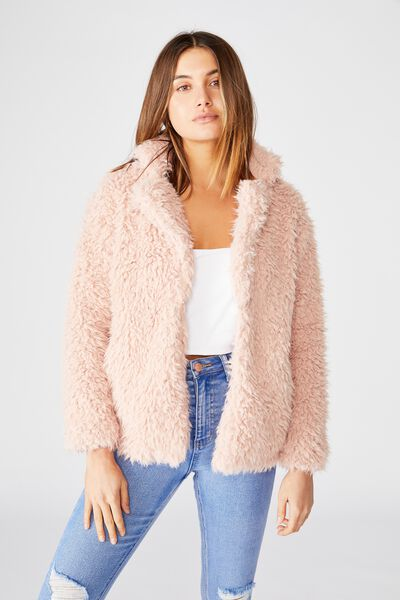 Layla Teddy Jacket, DUSTY PINK