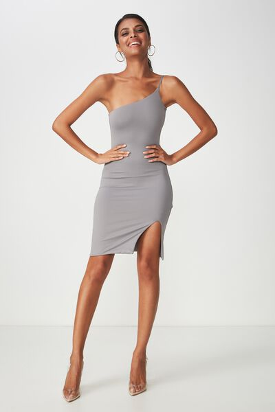Party One Shoulder Mini Dress, STEEL GREY