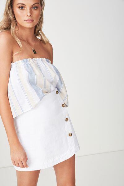 Cindy Asymmetric Wrap Skirt, WHITE