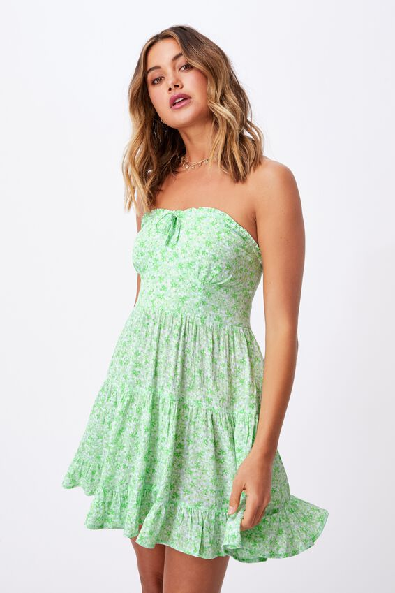 Savannah Tiered Bustier Dress, HANNAH FLORAL PINE LIME