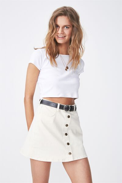 The Bel Air Button Through Mini Skirt, ECRU CONTRAST