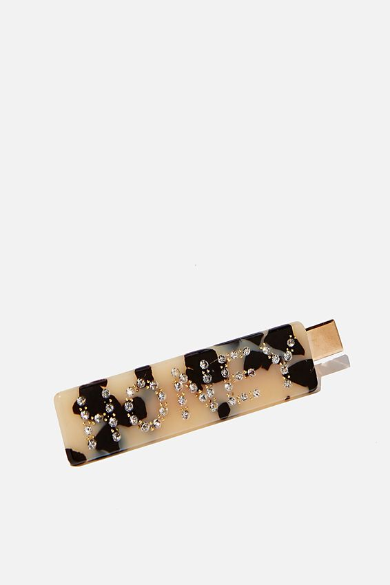 Rectangle Word Hair Clip, MILKY TORT/HONEY