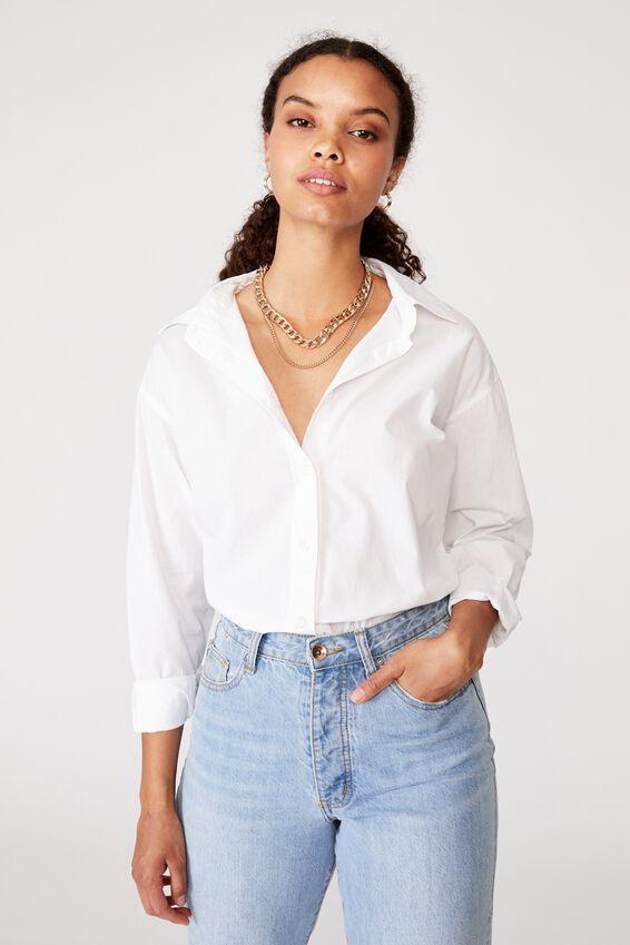 Oversized Dad Shirt, WHITE