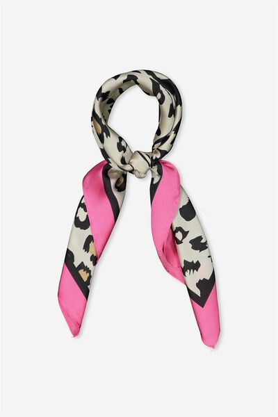 Satin Scarf, HOT PINK LEOPARD