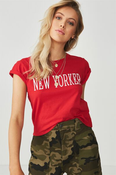 Printed Baby Tee, RED/NEW YORKER