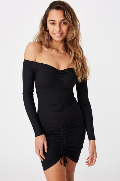 Freya Ruched Front Long Sleeve Dress, BLACK