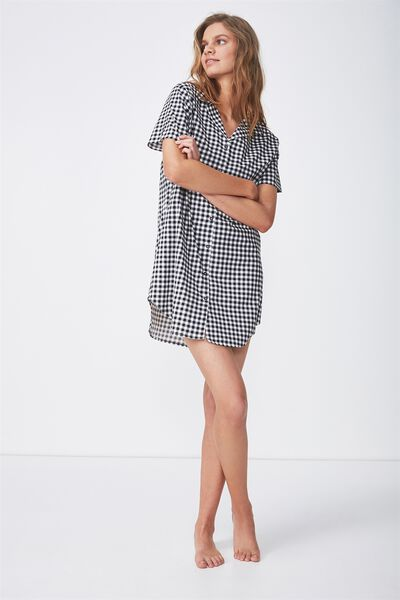 Sleep Shirt Nightie, BLACK GINGHAM