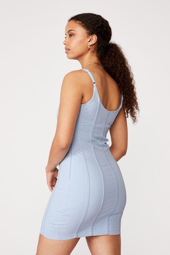 Skye Panelled Bodycon Dress, BLUE PETAL