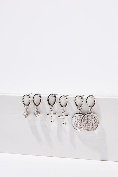 Mini Charm Earring Set, SILVER