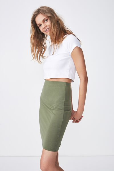 Knee Length Basic Skirt, LIGHT KHAKI