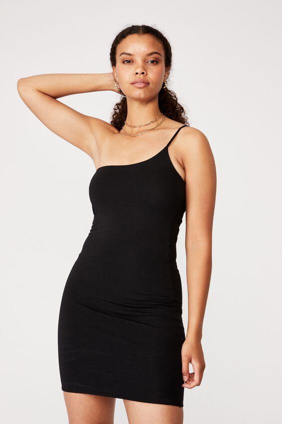 Neveah One Shoulder Mini Dress, BLACK