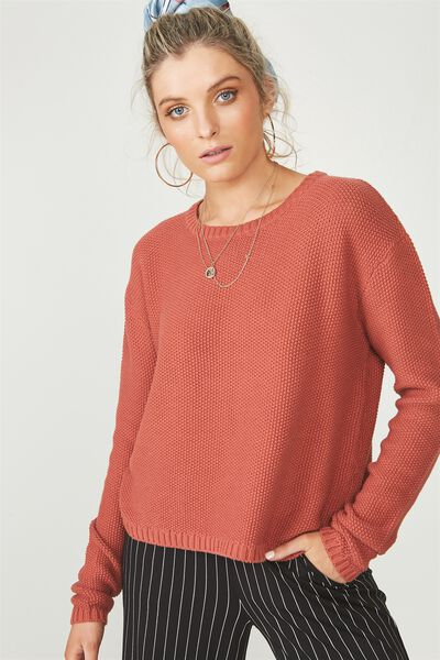 Alice Waffle Knit Top, ETRUSCAN RED