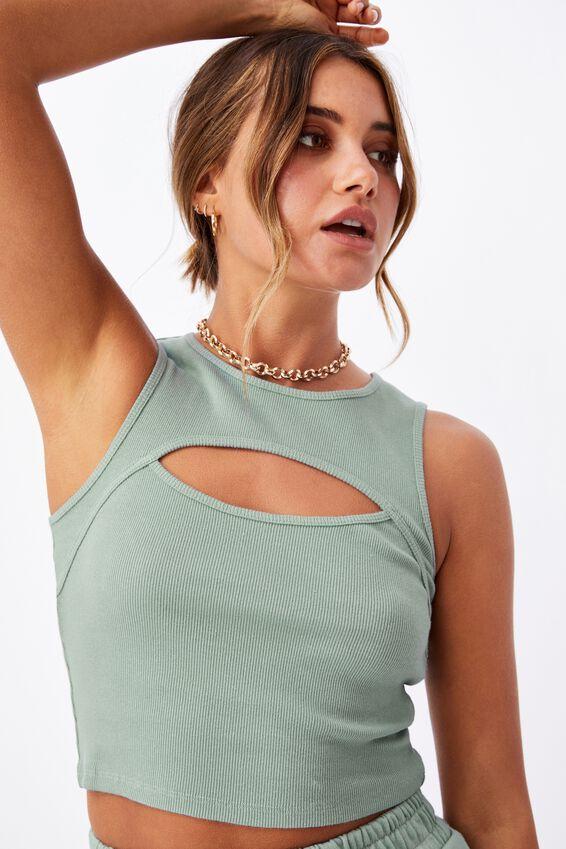 Romina Cut Out Crop Tank, MATCHA GREEN