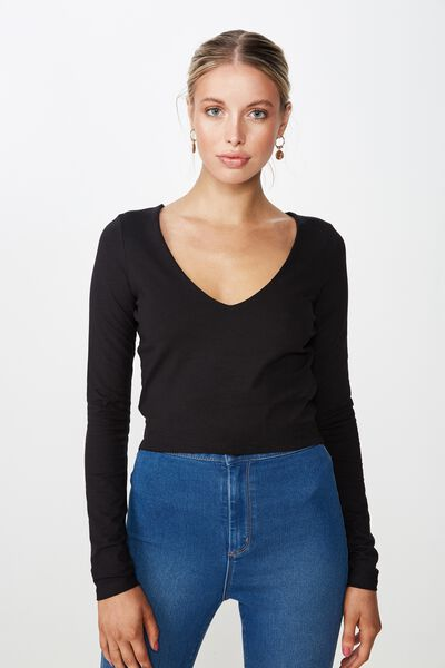 df675e107da0d Long Sleeve V Neck Crop Top
