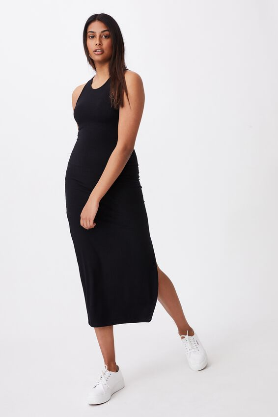 Brynn Rib Maxi Dress, BLACK
