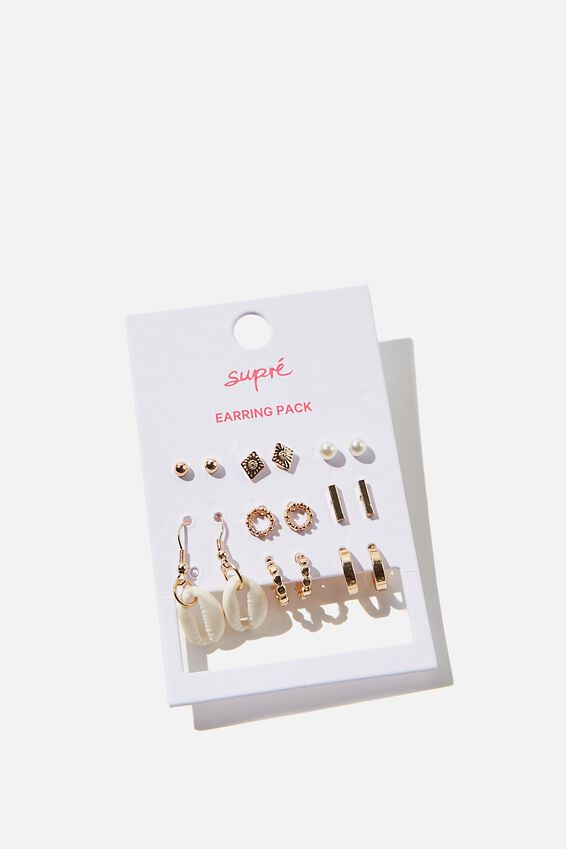 Earring Pack, GOLD PEARL