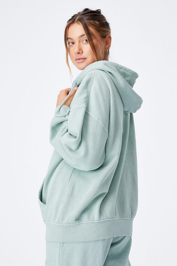 Zola Oversized Zip Through Hoodie, WASHED MATCHA GREEN