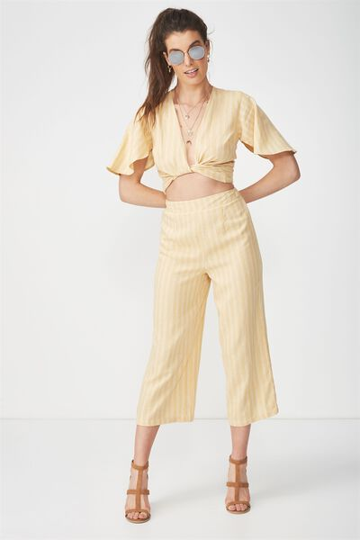 Crop Wide Leg Linen Blend Pant, HONEY STRIPE