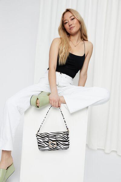 Jenna Elastic Strap Top, BLACK