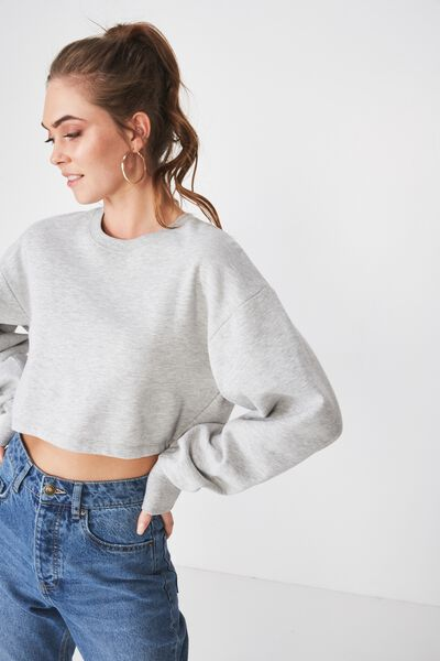 Kayla Long Sleeve Crop Sweat, GREY MARLE