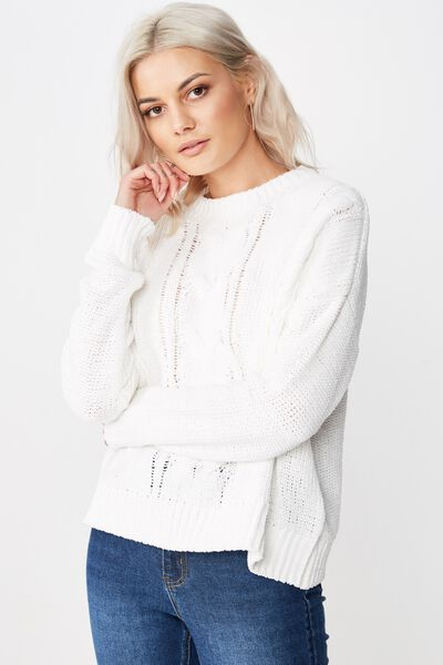 Tilly Cable Knit, WHITE