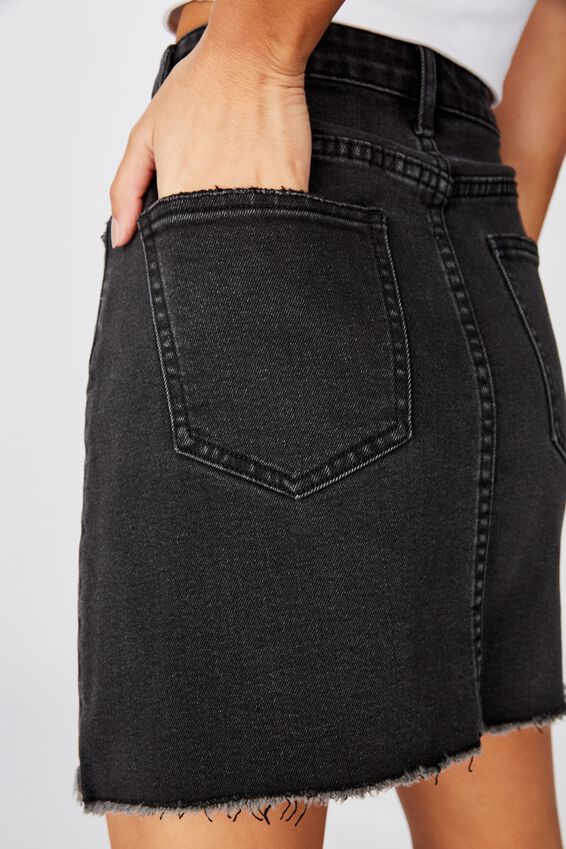 Rachel Stretch Denim Mini Skirt, SMOKEY BLACK